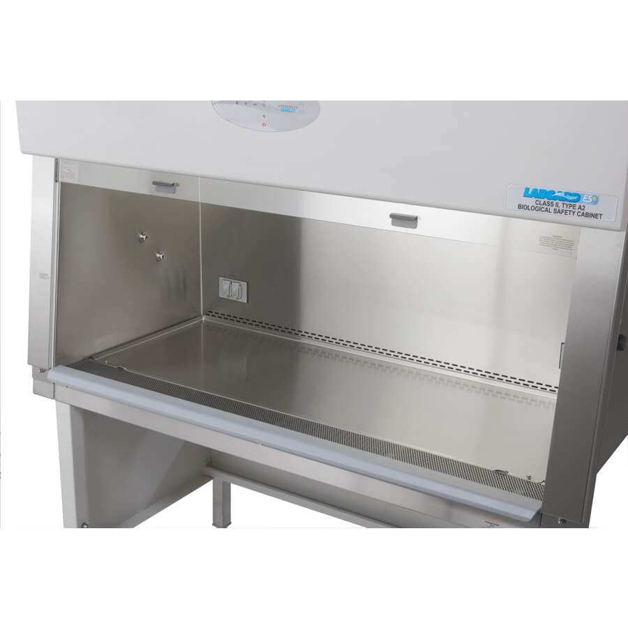 Class II Biosafety Cabinet recessed larger interior work zone and shorter reach into safe working area for improved BSC ergonomics.