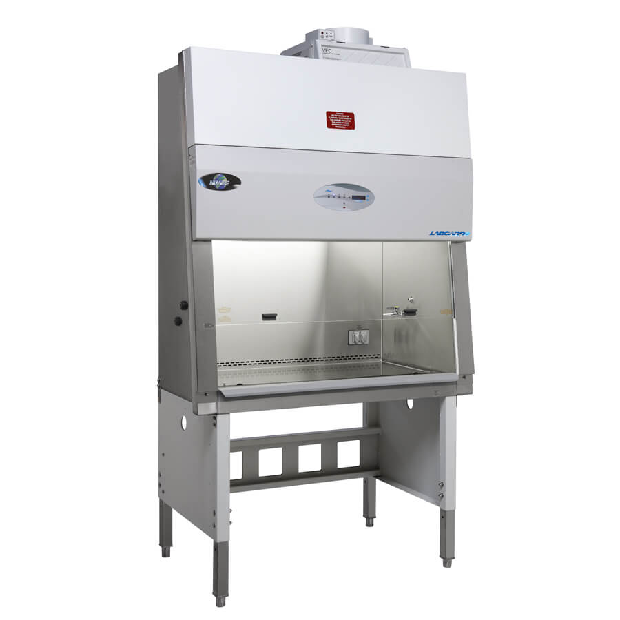 LabGard NU-543 Class II, Type A2 Biosafety Cabinet with accessories telescoping base stand with leg levelers and exhaust transition.