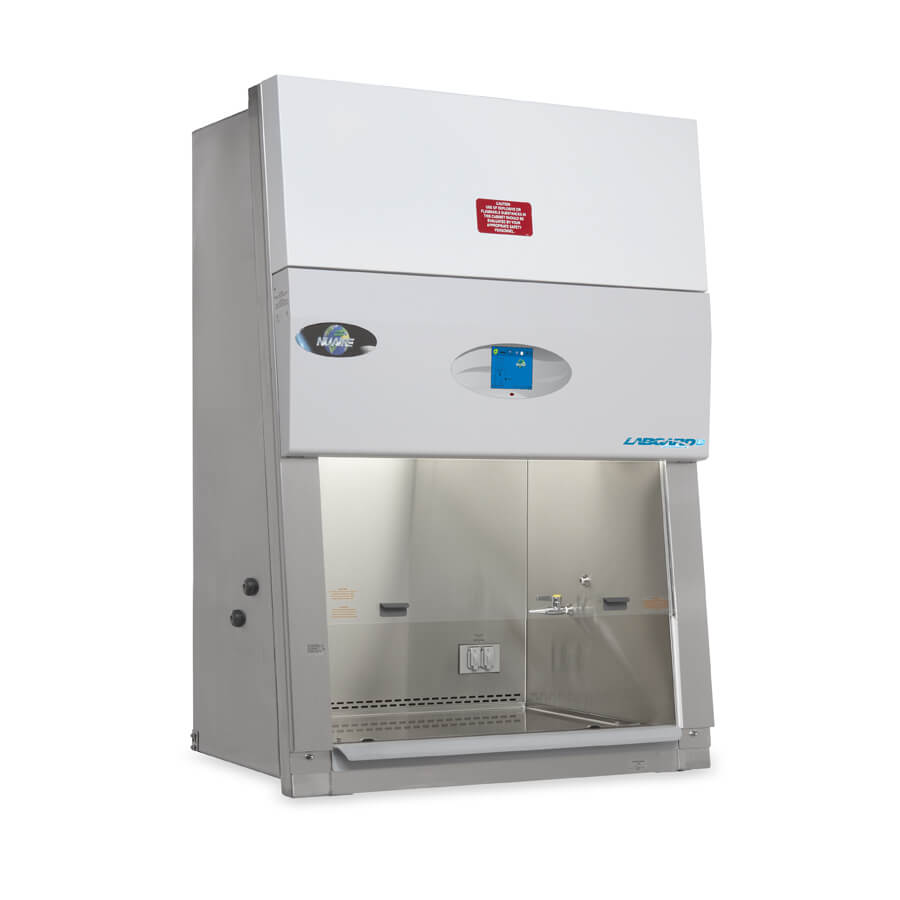 Nominal 3-foot ( 0.9m) bench top style Class II, Type A2 Biosafety Cabinet model NU-545-300 featuring touchscreen controls.