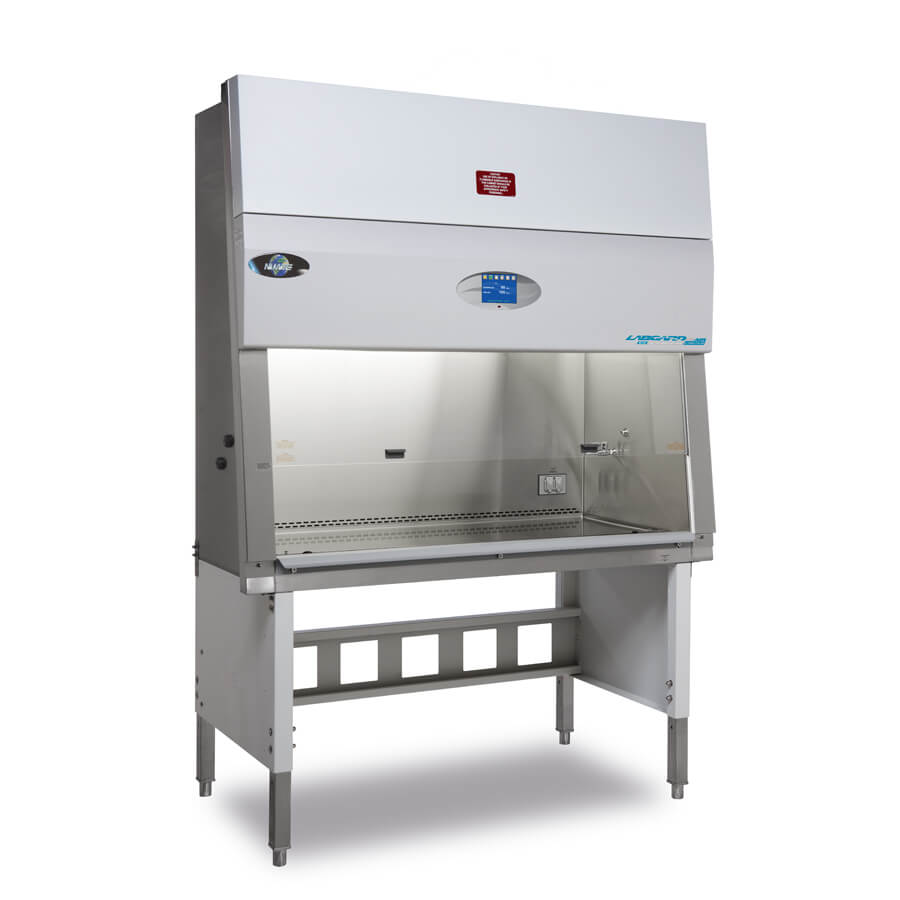Nominal 5-foot (1.8m) wide model NU-545-500 Class II, Type A2 Biosafety Cabinet featuring accessory telescoping base stand with leg levelers.