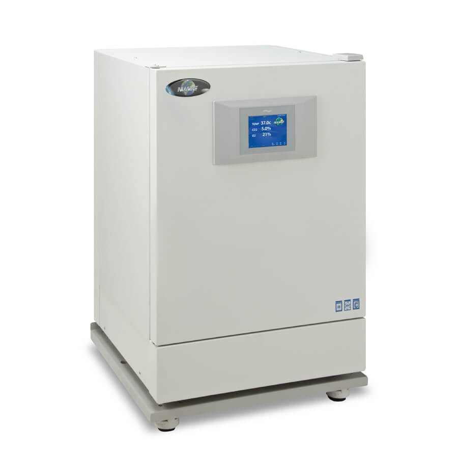 NU-8600 water jacket CO2 incubator on castered platform for cell culture growth.